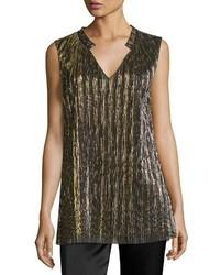 Collection metallic pliss v neck shell blackgold medium 3804083