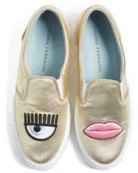 Chiara Ferragni Flirting Lips Slip On Sneaker