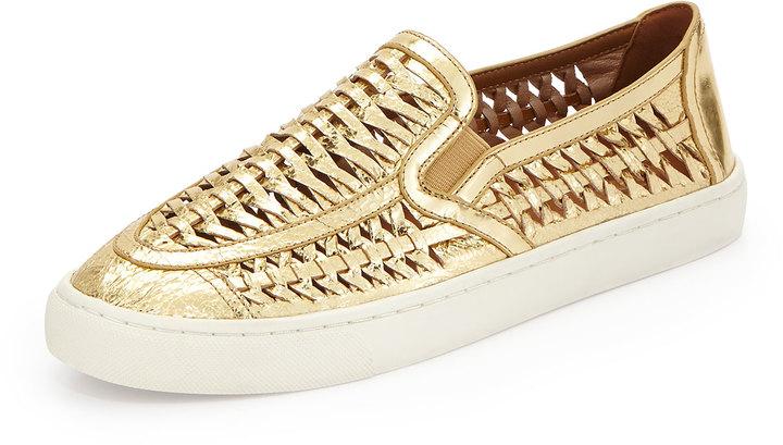 5ed541e8a9d9 ... Tory Burch Huarache Slip On Sneaker Golden ...