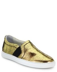 Lanvin Laminated Slip On Sneakers
