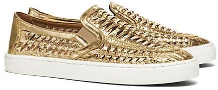b2c659017146 Tory Burch Metallic Huarache Slip On Sneakers