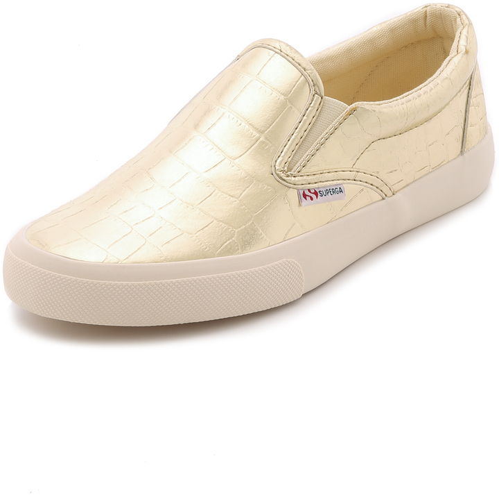 Superga Metallic Slip On Sneakers, $119