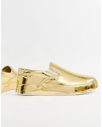 ASOS DESIGN Slip On Plimsolls In Mirror Gold