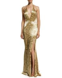 Alexandra vidal metallic hand beaded halter gown gold medium 1009921