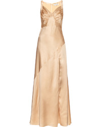 Ruched drape silk satin gown medium 1010029