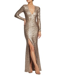 Lily Collins wearing Gold Slit Sequin Evening Dress 8afaf4c3987