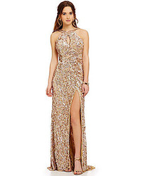 Mac By Mac Duggal Metallic Sequin High Neckline Cowl Open Back Gown