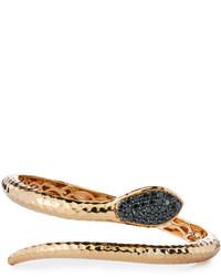 Roberto Coin Martellato 18k Rose Gold Black Diamond Snake Bracelet