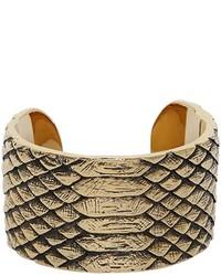 Saint Laurent Python Engraved Brass Cuff Bracelet