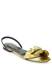 Saint Laurent Edie Metallic Snakeskin Patent Leather Flat Slingback Sandals
