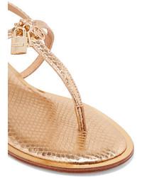 498d31fb3dbeb ... MICHAEL Michael Kors Michl Michl Kors Suki Embellished Metallic Snake  Effect Leather Sandals Gold