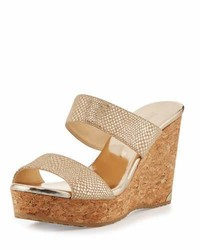 Jimmy Choo Parker Snake Print 100mm Wedge Sandal Dor