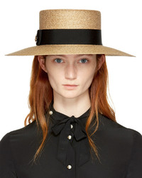 Gucci Gold Straw Alba Hat
