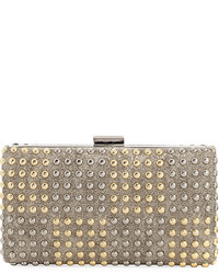 Neiman Marcus Two Tone Studded Box Clutch Bag