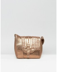 Urban Code Urbancode Real Leather Festival Bronze Cross Body Bag With Tonal Studded Flap