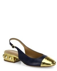 Michael Kors Michl Kors Collection Raine Metallic Cap Toe Leather Slingbacks