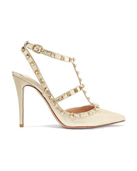 Valentino Garavani The Rockstud Metallic Textured Leather Pumps