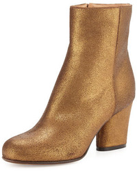 Maison Margiela Metallic Suede 70mm Ankle Boot Bronze