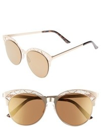 56mm Round Sunglasses Gold Brown