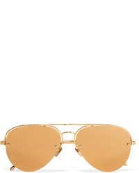 Linda Farrow Aviator Style Gold Plated Mirrored Sunglasses One Size