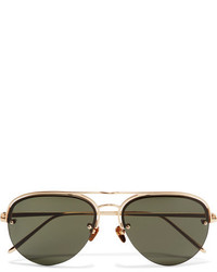 Linda Farrow Aviator Style Gold Plated Sunglasses