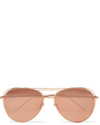 Linda Farrow Aviator Style Rose Gold Plated Mirrored Sunglasses Metallic