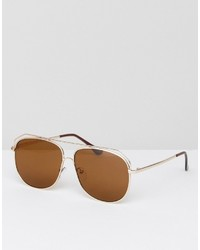 Asos Aviator Sunglasses In Matte Gold With Brow Detail