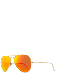 Ray-Ban Aviator Sunglasses With Flash Lenses Goldred Mirror