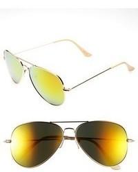 Mirrored Aviator 57mm Sunglasses Black Silver