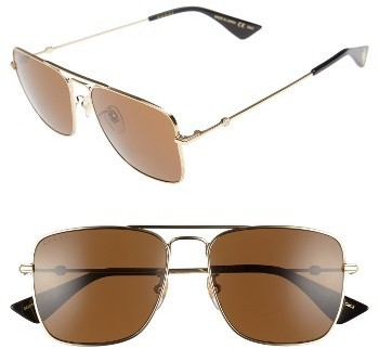 bcdb2968fd6 ... Gucci Caravan 55mm Sunglasses Gold Brown
