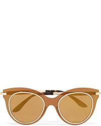Dolce & Gabbana Cat Eye Acetate And Gold Tone Mirrored Sunglasses Bronze