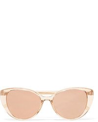 Linda Farrow Cat Eye Acetate Mirrored Sunglasses Blush