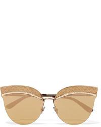 Bottega Veneta Cat Eye Leather Trimmed Gold Tone Sunglasses