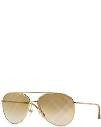 Burberry Check Print Aviator Sunglasses Gold