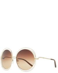 Chloé Chloe Carlina Round Wire Metal Sunglasses