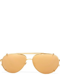 Linda Farrow Convertible Aviator Style Gold Plated Mirrored Sunglasses