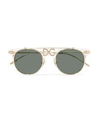Dolce & Gabbana D Frame Acetate And Gold Tone Sunglasses
