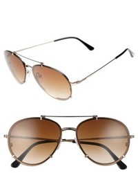 Tom Ford Dickon 59mm Aviator Sunglasses Shiny Rose Gold Brown