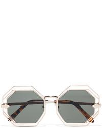 Karen Walker Emmanuel Round Frame Gold Tone Sunglasses