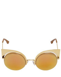 Fendi Gold Colored Metal Cat Eye Sunglasses