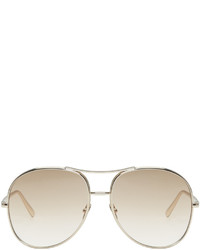 Chloé Gold And Brown Round Sunglasses