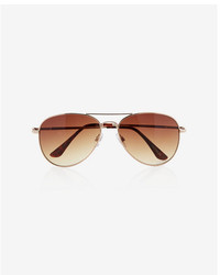 Express Gold Frame Aviator Sunglasses
