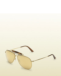 Gucci Gold Plated Aviator Sunglasses With Bamboo