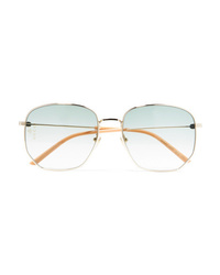 Gucci Hexagon Frame Gold Tone And Acetate Sunglasses