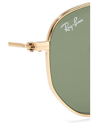 Ray-Ban Hexagonal Frame Gold Tone Sunglasses