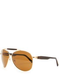 b35d18ef70 Brioni Horn Metal Aviator Sunglasses Golden