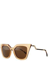 Fendi Iridia Mirror Tip Cat Eye Sunglasses