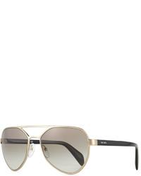 49ca212f681d ... Prada Irregular Frame Aviator Sunglasses Golden