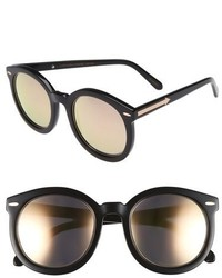 ray ban rose gold mirrored aviators gs3z  Karen Walker Super Duper Superstars 53mm Sunglasses Black With Rose Gold