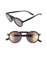 Smoke X Mirrors Letter 49mm Mirrored Round Sunglasses